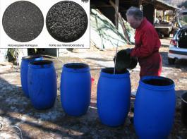 Ansetzen der Güllefässer am Mathislehof im  November 2013