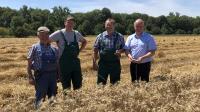 Die Landwirte Helmut Steffan, Martin Billau, Dr. Willi Billau und Präsident Karsten Schmal im Weizenfeld  Foto: hbv