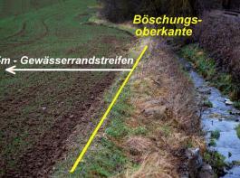 """Im 5-m-Bereich ab Böschungsoberkante dürfen neben einem """"Gewässer"""" von wasserwirtschaftlicher Bedeutung keine Dünge- und Pflanzenschutzmittel gelagert und eingesetzt werden."""