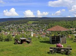 """Ein toller Blick auf Lenzkirch eröffnet sich vom Aussichtspunkt in der """"Schliecht""""  im Geopark. Und das Lesebänkle sorgt zudem für Büchergenuss."""