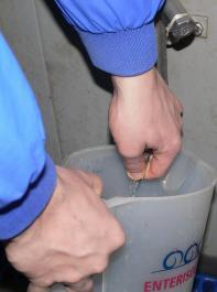 Bild2: Überprüfung der Durchflussrate der Tränke.