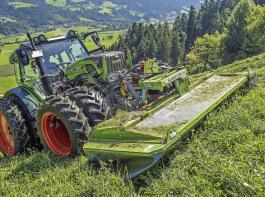 Neu im Grünfuttererntetechnik-Programm von Fendt sind spezielle Alpin-Geräte für Mähen, Wenden und Schwaden.
