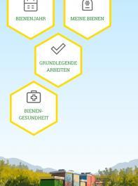 Der Startbildschirm der Imker-App verweist auf die  angebotenen Module.