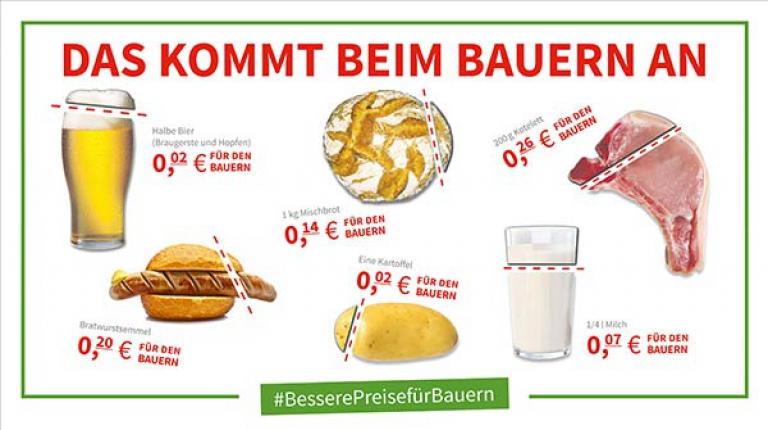 Ein Grund für die schwierige Lage auf vielen bayerischen Bauernhöfen: Von dem Geld, das Verbraucher für Lebensmittel ausgeben, erhalten Landwirte immer weniger.