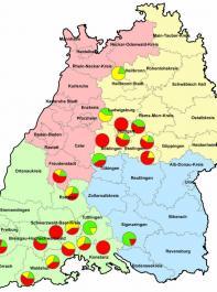 Ergebnis des Monitorings zur Resistenzbildung bei Kartoffelkäfern  aus dem Jahr 2013. Grün = Einzeltiere sensibel. Gelb =  Resistenz  möglich. Rot = Einzeltiere resistent.
