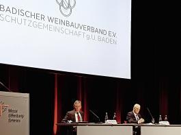 Landwirtschaftsminister Peter Hauk spricht in Offenburg anlässlich der Mitgliederversammlung des Badischen Weinbauverbandes. Ebenfalls auf dem Podium (von links): Weinbaupräsident Rainer Zeller,  Peter Wohlfarth, Geschäftsführer des Badischen Weinbauverbandes, und Vizepräsident Thomas Walz
