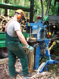 Vertikaler Holzspalter mit Zapfwellenantrieb im Einsatz.