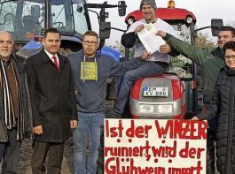 Von links: BLHV-Präsident Werner Räpple, Bundestagsabgeordneter Johannes Fechner (SPD), die Winzer und Landwirte Kevin Vogel, Thomas Frenk und Niklas Henninger sowie Marion Gentges, Landtagsabgeordnete (CDU).