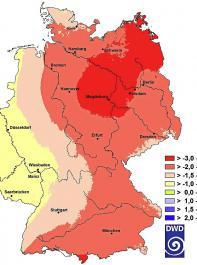 Der Standardized Precipitation Index (SPI) vom 2.April bis 2.Juli 2018 zeigt das  Niederschlagsdefizit. In Mittel- und Nordostdeutschland sackt der Index unter -2 ab  und zeigt eine extreme Dürre an.