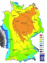 Ranking der Bodenfeuchte unter Winterweizen  auf leichten Böden vom 25.Juni bis 2.Juli, bezogen auf die klimatologische Zeitreihe seit 1961. Min.=1, Max.=17.