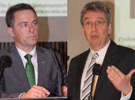 Links: Max Reger, Forstpräsident in Baden-Württemberg. Rechts: Andreas Mundt, Präsident des Bundeskartellamtes.