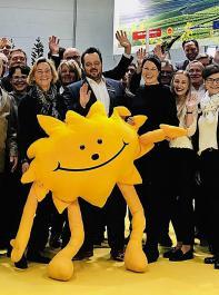 Ein Bild aus besseren Tagen: Das Sonnenmännchen am Gemeinschaftsstand auf der ProWein 2018.