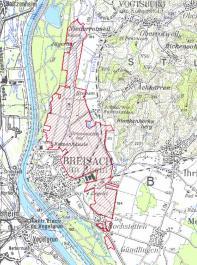 Rot eingezeichnet ist das Beregnungsgebiet  der Beregnungsgemeinschaft Breisach Nord.