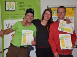 Sieger der Sparte Landwirtschaft I (Auszubildende): Robin Flügel, Franziska Rehm, Niels Kohler (v.l.)