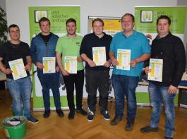 Siegerteams der Sparte Landwirtschaft II (Meister): Patrick Moog, Uwe Götz, Martin Joos, Matthias Bröcheler, Tobias Selinger, Sebastian Reinbold (v.l.)
