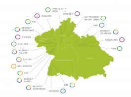 Der grüne Kartenausschnitt zeigt die Bundesländer Baden-Württemberg, Bayern, Rheinland-Pfalz und Hessen, die sich am Projekt Vitifit beteiligen.