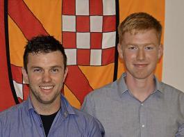 Mathias Friedrich (links) und Johannes Schneider lieferten die besten Facharbeiten ab.
