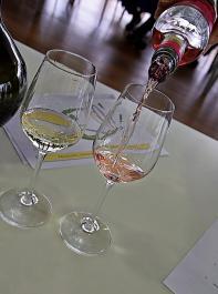 Strahlendes Gelb mit grünlichen Reflexen oder auch zartes Rosé sind gewünschte Farben typischer Frühlings- und Sommerweine.