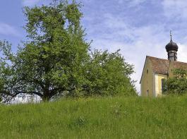 Die Wallfahrtskirche Maria zum Berg Karmel thront auf einer Anhöhe bei Baitenhausen.