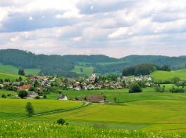 Von der Ramshalde unterwegs nach Himmelreich mit schönem Blick auf Breitnau.