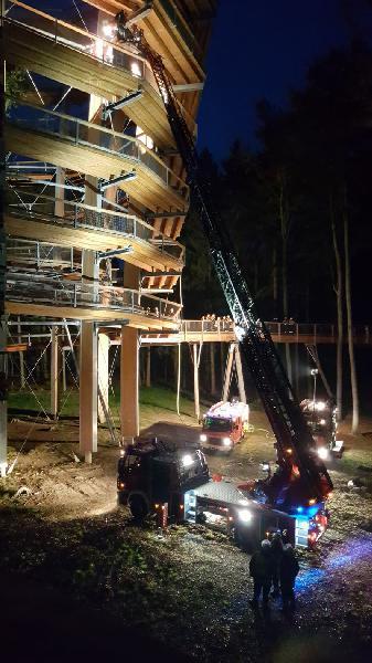 Rettungsübung am Baumwipfelpfad Steigerwald